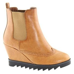 Bella Marie Vegan Leather Chelsea Wedge Ankle Boot